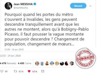 Jean Messiha, FN, métro, Bobigny