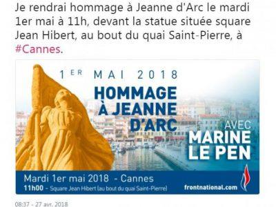 Hommage Jeanne d'arc, 1er mai, FN
