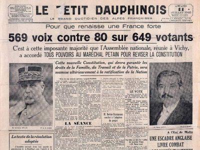"""Le Petit Dauphinois Une: """"pleins pouvoirs pétain"""""""