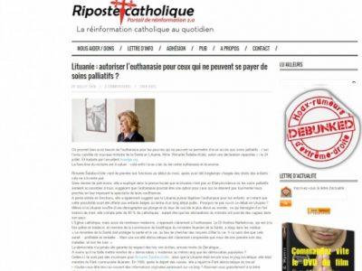 Lituanie euthanasie Riposte catholique