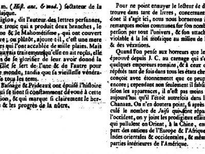 Article de Diderot sur les juifs dans l'Encyclopédie