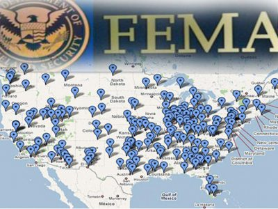 Carte camps FEMA USA