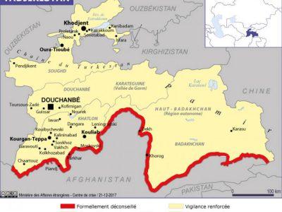 Risques au Tadjikistan-Carte du ministère des AE