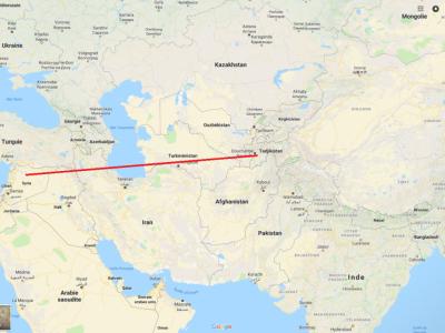 Distance Syrie/Tadjikistan: 3000km