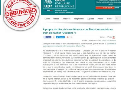 "UPR: les USA ""nazifient""Occident"