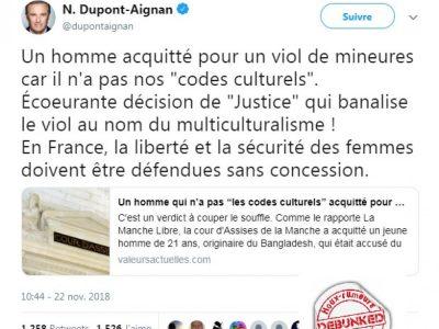 Viol dans la Manche-Twitter de Dupont Aignan