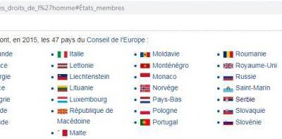 Liste des états membres de la CEDH