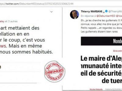 Echange Mariani/Debunkers sur twitter