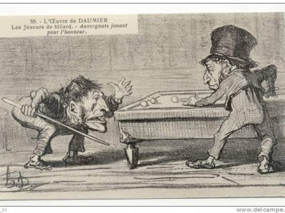 """Auvergnats jouant [au billard] pour """"l'honneur et la conchommachion"""" de Daumier"""