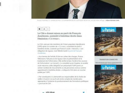 Le Parisien UPR classée extrême droite